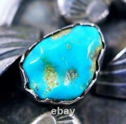 1-3/4 Long EARLY Zuni Attr DAN SIMPLICIO Sterling & KINGMAN Turquoise Ring Sz7
