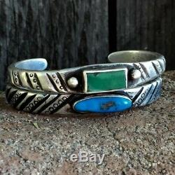 1880s Early Navajo Native American Turquoise Silver Ingot Chiseled Cuff Bracelet