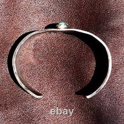 1890s Early Stamps Native American Navajo Turquoise Silver Ingot Cuff Bracelet
