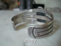 1920's Navajo Cerrillos Turquoise Ingot Silver Cuff Bracelet Early Peshlaki Era