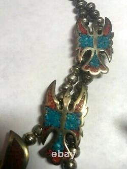 1977 Tommy Singer Very Early Chip Inlay Turquoise and Red Coral Thunderbird Ne