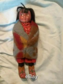 2 Antique Native American Indian SKOOKUMS Dolls Rare Early Label 1915-1920