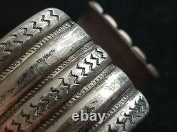 60 Grams! Early Native American 5 Row Hand Wrought Ingot Silver Cuff Bracelet