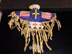 7.29 Native American Plains Sioux Beaded Eagle Umbilical Fetish Early 20th C