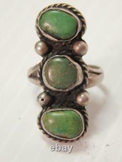 ANTIQUE VINTAGE NAVAJO INDIAN STERLING SILVER TURQUOISE RING EARLY- sz 6 3/4