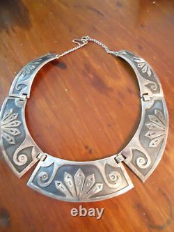 Adjustable Early Sterling Hopi Choker Necklace with chain clasp