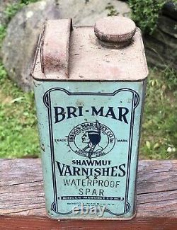 Amazing Early BRI-MAR SHAWMUT Varnishes Boston MA Native American Indian Tin Can