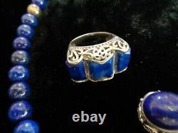 Amazing Vintage Navajo Lapis Sterling Silver Bracelet Plus Other Matching Pcs