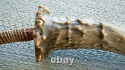 Antique 19th-Early 20th C. Horse Effigy Indian Horse Antler Quirt Riding Crop