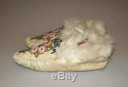 Antique Early 1900's Native American Alaska Beaded Moccasins Eskimo Indian Nice