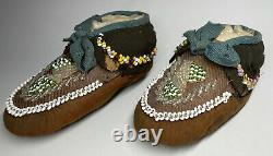 Antique Early 20th C. Native American Iroquois Children Child Moccasins Bead