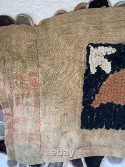 Antique Early Native American Hooked Penny Rug