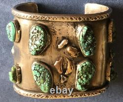 Antique Early Navajo Silver Bracelet With Turquoise And Gold Nuggets