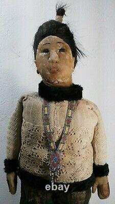 Antique Life Size Eskimo Inuit doll early 20th century