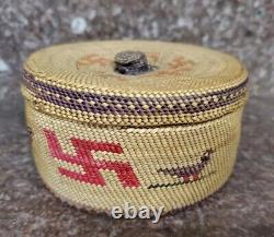 Antique Native American Makah Basket with Whirling Log and Birds RARE early 1900
