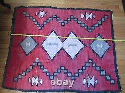 Antique Navajo Rug large early weaving with desirable red field