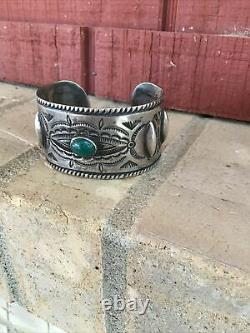 Antique navajo bracelet cuff Vintage Old Pawn Early Coin Silver Wide Excellent