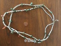 Antique turquoise shell heishi necklace old pawn early kewa Santo Domingo