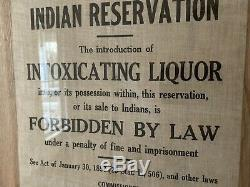 Authentic Early Indian Reservation Warning Cloth Sign Segregation Antique Rare