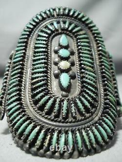 Best Early Vintage Zuni Cerrillos Turquoise Sterling Silver Cluster Bracelet