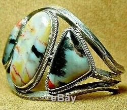Big Early Old Pawn Navajo Sterling Silver Dramatic Petrified Wood Cuff Bracelet