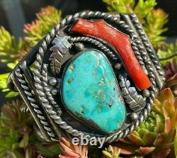 Bold Early Old Pawn Turquoise & Coral Native American Bracelet Rope Leaves Cuff