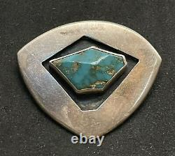 CHARLES LOLOMA Original Early Sterling Silver Turquoise Pin Brooch