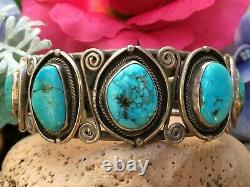 EARLY 1950s OLD PAWN NATIVE AMERICAN NAVAJO TURQUOISE STERLING CUFF BRACELET WOW