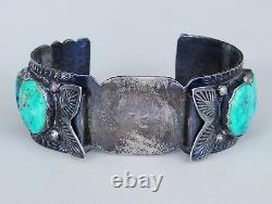 EARLY Antique Native American Sterling Silver Boulder Turquoise Watch Bracelet