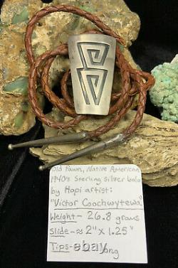 EARLY! Old Pawn, 1940s Hopi Victor Coochwytewa Sterling Silver Bolo, 26.8g