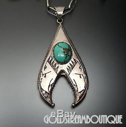 EARLY RIC CHARLIE NAVAJO 925 SILVER TUFA CAST TURQUOISE EAGLES PENDANT With CHAIN