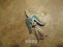 EARLY TOMMY SINGER (d.) Navajo Sterling Silver Turquoise & Coral Pin / Pendant