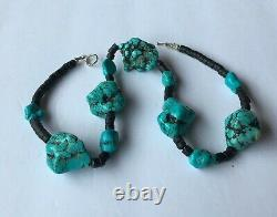 EARLY Vintage Santo Domingo Turquoise Nugget and Heishi Bead SQUAW Necklace 18