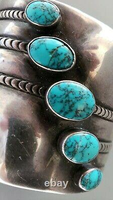 EXCEPTIONAL Early Vintage Turquoise NAVAJO Silver Cuff Bracelet