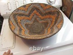 Early 1900's Antique Mission Native American Large Woven Basket Bowl