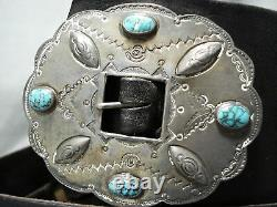 Early 1900's Museum Vintage Navajo Turquoise Sterling Silver Concho Belt Old