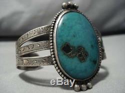 Early 1900's Vintage Navajo Aqua Blue Turquoise Sterling Silver Bracelet Old