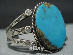 Early 1900's Vintage Navajo Blue Gem Turquoise Sterling Silver Bracelet Old