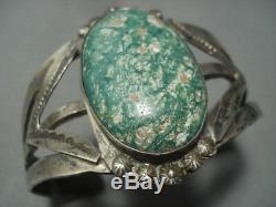 Early 1900's Vintage Navajo Cerrillos Turquoise Setrling Silver Bracelet