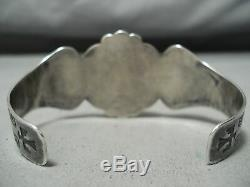 Early 1900's Vintage Navajo Cerrillos Turquoise Sterling Silver Bracelet