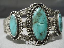 Early 1900's Vintage Navajo Cerrillos Turquoise Sterling Silver Bracelet Old