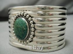 Early 1900's Vintage Navajo Cerrillos Turquoise Sterling Silver Cuff Bracelet