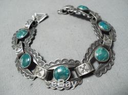 Early 1900's Vintage Navajo Damale Turquoise Sterling Silver Bracelet Old