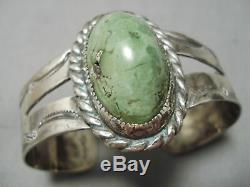 Early 1900's Vintage Navajo Green Turquoise Sterling Silver Bracelet Old