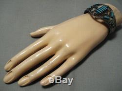 Early 1900's Vintage Navajo Rectangular Turquoise Sterling Silver Bracelet Old