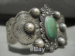 Early 1900's Vintage Navajo Repouse Sterling Silver Cerrillos Turquoise Bracelet