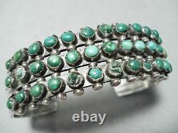 Early 1900's Vintage Navajo Snake Eyes Turquoise Sterling Silver Bracelet