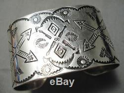 Early 1900's Vintage Navajo Sterling Silver Coin Bracelet Old