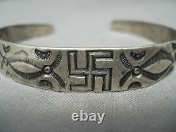 Early 1900's Vintage Navajo Whirling Logs Sterling Silver Bracelet