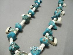Early 1900's Vintage Santo Domingo Turquoise Inlay Sterling Silver Necklace Old